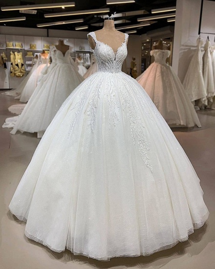 BMbridal Affordable Straps A-line White Wedding Dresses With Appliques Tulle Ruffles Bridal Gowns Online_2