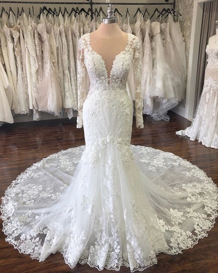 Elegant Jewel Longsleeves Mermaid Wedding Dresses Tulle Ruffles Lace Bridal Gowns With Appliques On Sale_2
