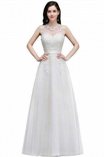 BMbridal A-Line Sleevelss Long Prom Dress With Lace Appliques_2