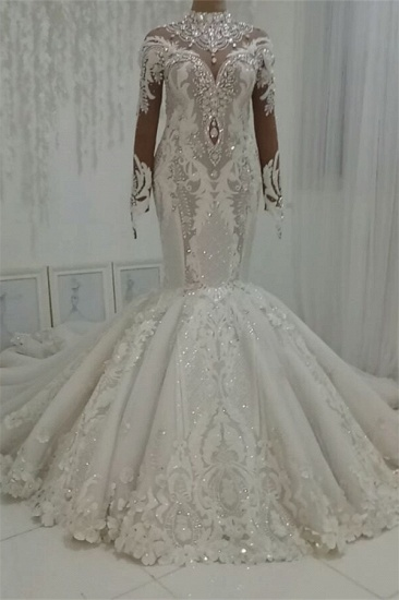BMbridal Modest Highneck Longsleeves Lace Wedding Dresses White Mermaid Bridal Gowns With Appliques On Sale_1