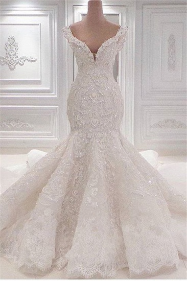 Sexy Off-the-shoulder White Lace Wedding Dresses With Appliques A-line Mermaid Bridal Gowns On Sale_1