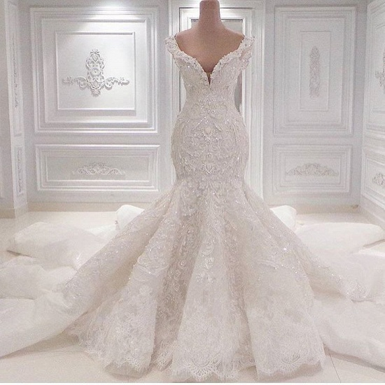 Sexy Off-the-shoulder White Lace Wedding Dresses With Appliques A-line Mermaid Bridal Gowns On Sale_4