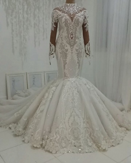 BMbridal Modest Highneck Longsleeves Lace Wedding Dresses White Mermaid Bridal Gowns With Appliques On Sale_3