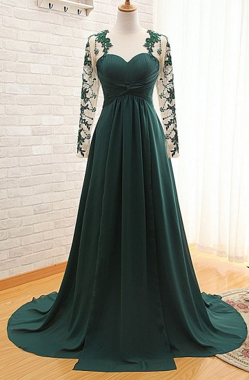 BMbridal Elegant Long Sleeve Green Evening Gowns Chiffon Lace Prom Dresses_1