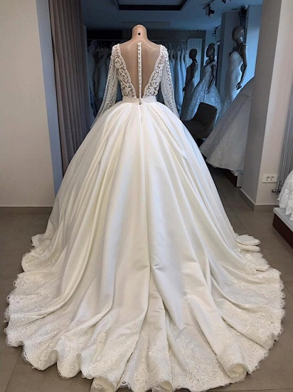 Elegant V-neck Longsleeves White Wedding Dresses Satin Lace Bridal Gowns With Appliques On Sale_2
