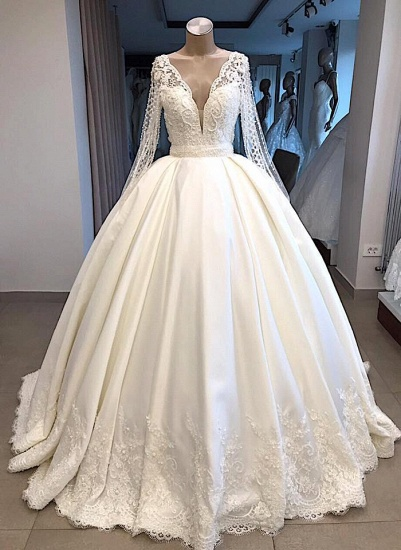 Elegant V-neck Longsleeves White Wedding Dresses Satin Lace Bridal Gowns With Appliques On Sale_4