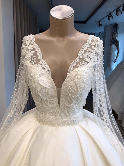Elegant V-neck Longsleeves White Wedding Dresses Satin Lace Bridal Gowns With Appliques On Sale_3