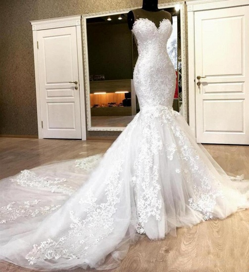 BMbridal Chic Jewel Sleeveless White Wedding Dresses With Appliques Mermaid Lace Bridal Gowns Online_3