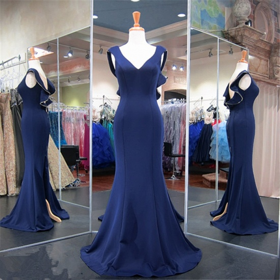 Gorgeous Navy Mermaid Prom Dress Long With Special Back Design_6