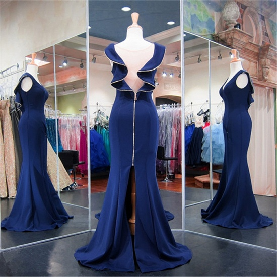 Gorgeous Navy Mermaid Prom Dress Long With Special Back Design_5