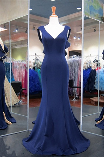 Gorgeous Navy Mermaid Prom Dress Long With Special Back Design_1