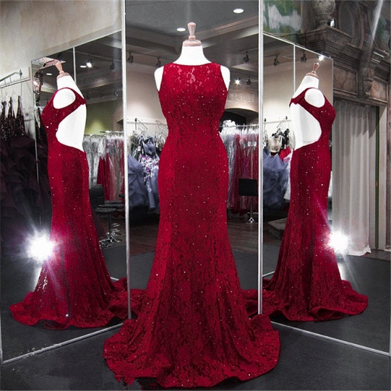 BMbridal Classic Burgundy Lace Evening Gowns Sleeveless Mermaid Prom Dress Online_6