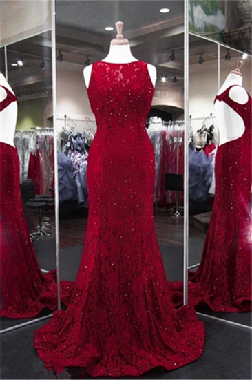 BMbridal Classic Burgundy Lace Evening Gowns Sleeveless Mermaid Prom Dress Online_1
