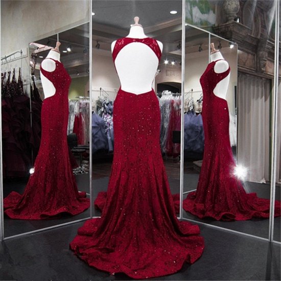 BMbridal Classic Burgundy Lace Evening Gowns Sleeveless Mermaid Prom Dress Online_5