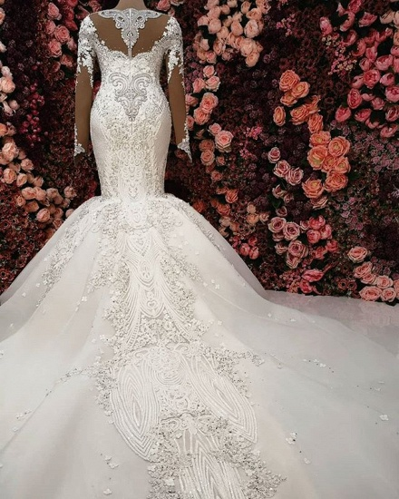 Sexy V-neck Longsleeves Lace Wedding Dresses With Appliques White Mermaid Bridal Gowns Online_4
