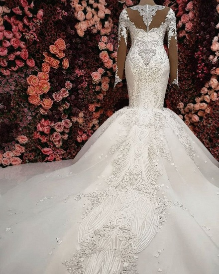Sexy V-neck Longsleeves Lace Wedding Dresses With Appliques White Mermaid Bridal Gowns Online_3