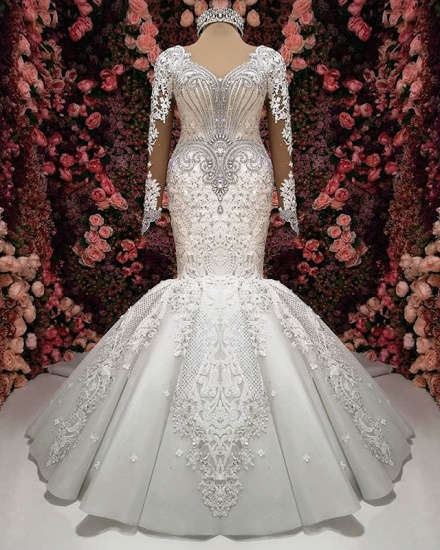 Sexy V-neck Longsleeves Lace Wedding Dresses With Appliques White Mermaid Bridal Gowns Online_5
