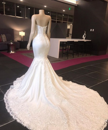 Sexy Sweetheart Mermaid Lace Wedding Dresses With Appliques Satin Ruffles Bridal Gowns Online_3