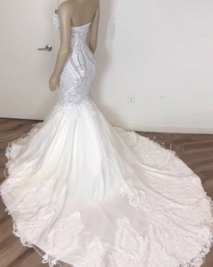 BMbridal Gorgeous Sweetheart Mermaid Lace Wedding Dresses White Ruffles Bridal Gowns With Appliques On Sale_3