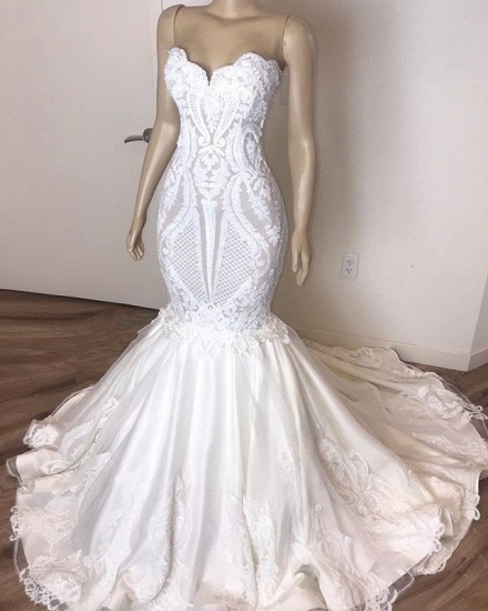 Gorgeous Sweetheart Mermaid Lace Wedding Dresses White Ruffles Bridal Gowns With Appliques On Sale_4