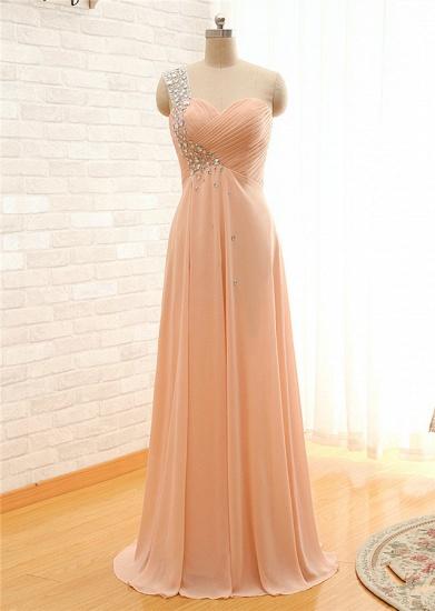 BMbridal Elegant One Shoulder Chiffon Prom Dress Long With Crystal_2