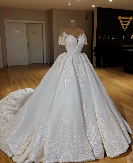 Elegant Jewel Shortsleeves A-line Wedding Dresses White Ruffles Lace Bridal Gowns With Appliques On Sale_3