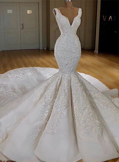 Sexy White Mermaid Ruffles Wedding Dresses Straps Sleeveless V-neck Bridal Gowns With Appliques Online_1