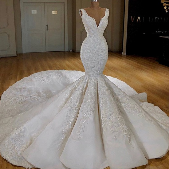 Sexy White Mermaid Ruffles Wedding Dresses Straps Sleeveless V-neck Bridal Gowns With Appliques Online_3