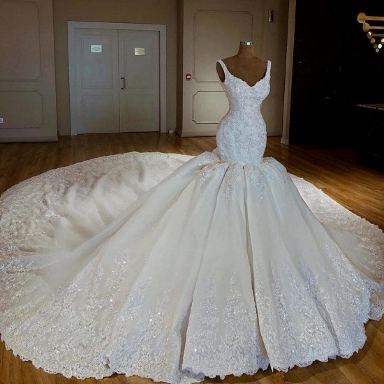 Gorgeous Straps White Mermaid Wedding Dresses Satin Ruffles Bridal Gowns With Appliques Online_3