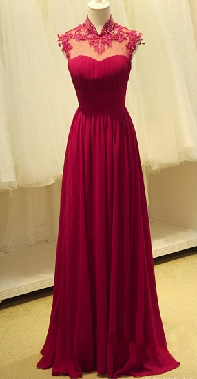 Elegant Open Back Chiffon Prom Dress Long With Lace Appliques_1