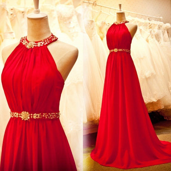 Sexy Halter Red Prom Dress Chiffon Long Evening Gowns Online_3