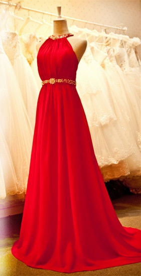 Sexy Halter Red Prom Dress Chiffon Long Evening Gowns Online_1