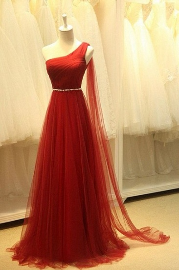 BMbridal Red One Shoulder Long Prom Dress Tulle Evening Gowns With Pearls_1