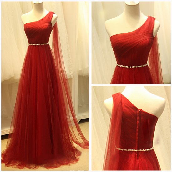 BMbridal Red One Shoulder Long Prom Dress Tulle Evening Gowns With Pearls_4
