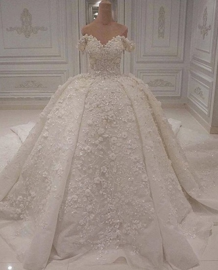 Gorgeous A-line Off-the-shoulder White Wedding Dresses V-neck Tulle Lace Bridal Gowns With Appliques Online_1