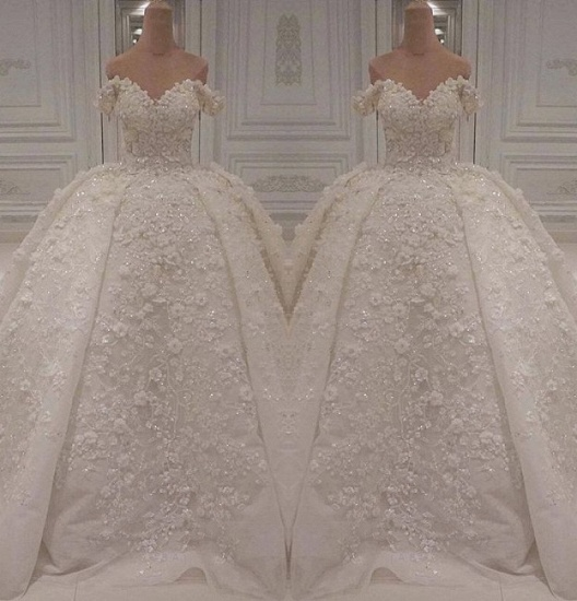 Gorgeous A-line Off-the-shoulder White Wedding Dresses V-neck Tulle Lace Bridal Gowns With Appliques Online_3