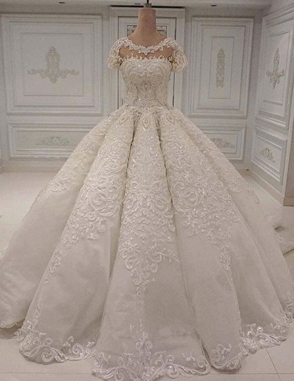 Elegant Shortsleeves Jewel A-line Wedding Dresses White Tulle Ruffles Bridal Gowns With Appliques Online_1