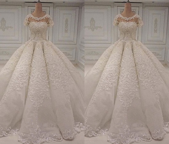 Elegant Shortsleeves Jewel A-line Wedding Dresses White Tulle Ruffles Bridal Gowns With Appliques Online_3