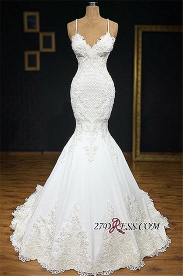 BMbridal Unique White Spaghetti Straps Mermaid Wedding Dresses With Appliques Tulle Ruffles Lace Bridal Gowns Online_1
