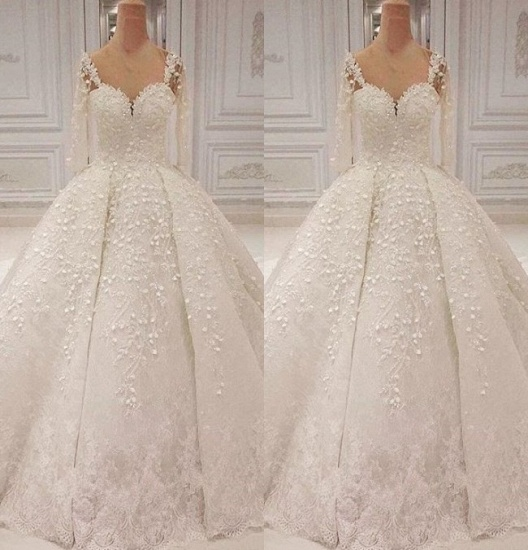Unique Halfsleeves Straps White Wedding Dresses With Appliques A-line Lace Bridal Gowns On Sale_3