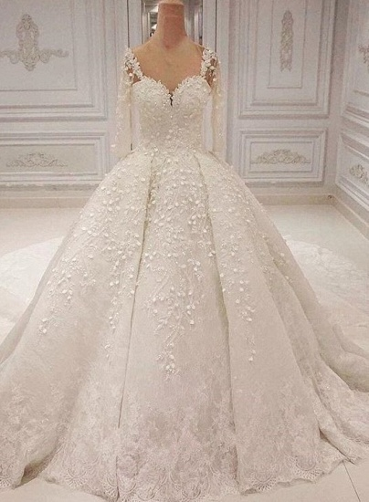 Unique Halfsleeves Straps White Wedding Dresses With Appliques A-line Lace Bridal Gowns On Sale_1