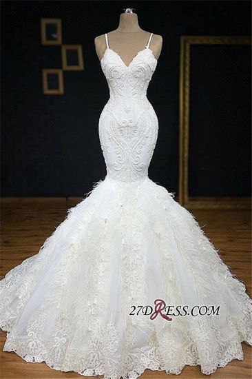 BMbridal Sexy Spaghetti Straps Sleeveless White Wedding Dresses With Appliques Mermaid Sleeveless Bridal Gowns On Sale_1